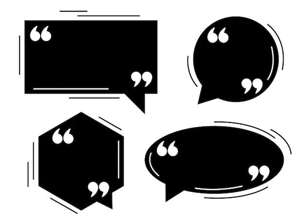 Conjunto de modelo de balões de diálogo de quatro aspas preto Vetor grátis