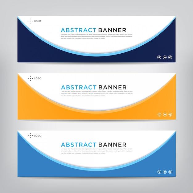 Conjunto de modelo de bandeira abstrata corporativa Vetor Premium