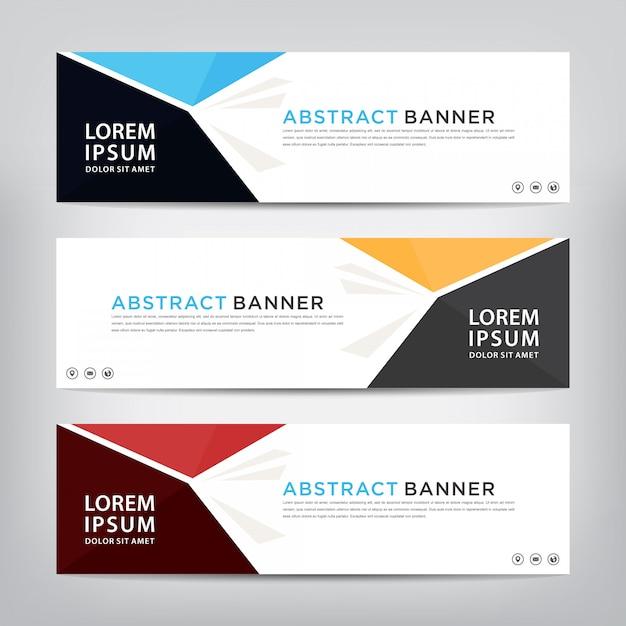 Conjunto de modelo de banner abstrato Vetor Premium