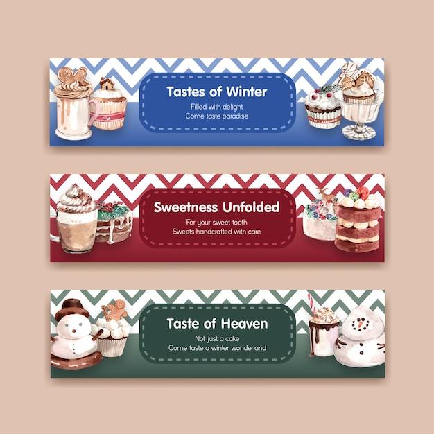 Conjunto de modelo de banner com doces de inverno em estilo aquarela Vetor grátis