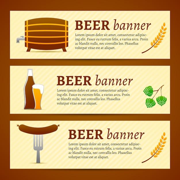 Conjunto de modelo de banner de cerveja Vetor grátis