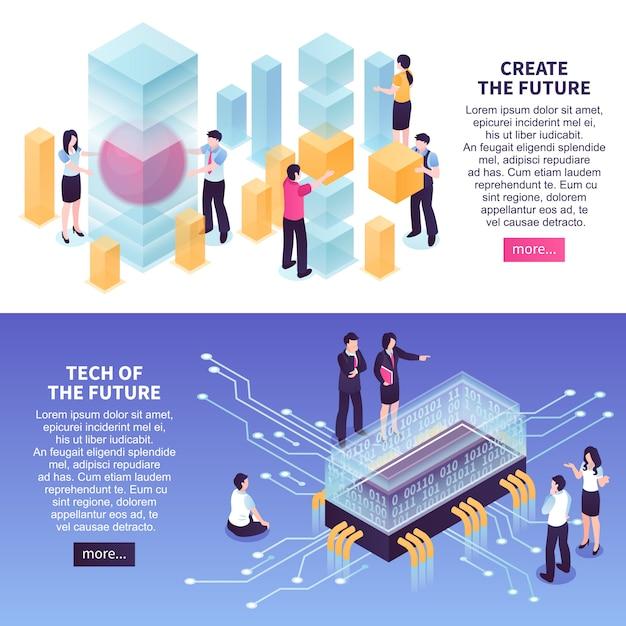 Conjunto de modelo de banner de tendências de tecnologia futuras Vetor grátis