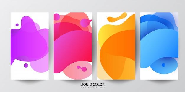 Conjunto de modelo de banner de venda de ondas de gradiente líquido plástico Vetor Premium