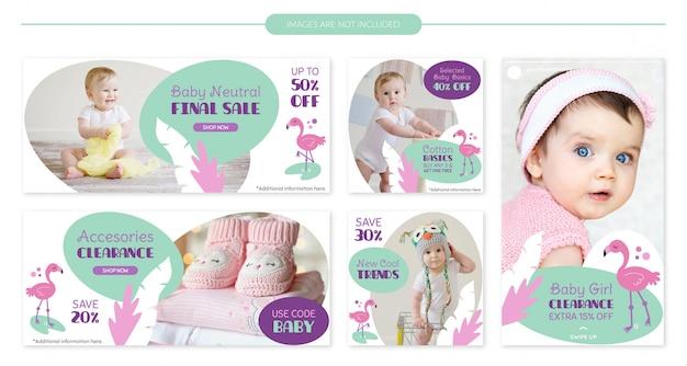 Conjunto de modelo de banner de venda flamingo bebê fofo Vetor Premium