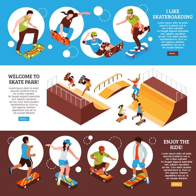 Conjunto de modelo de banner isométrico skate com informações de texto editável sobre atividade esportiva de skate e ilustração vetorial de imagens Vetor grátis