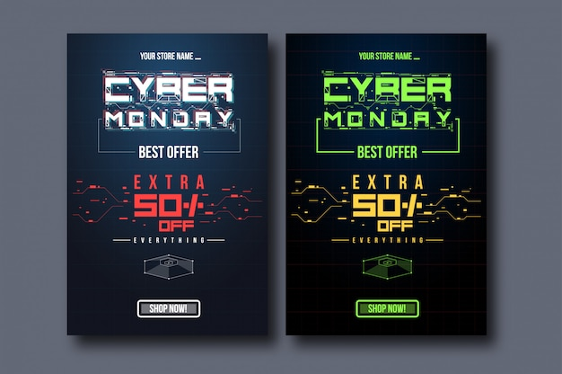 Conjunto de modelo de banner vertical cyber monday Vetor Premium