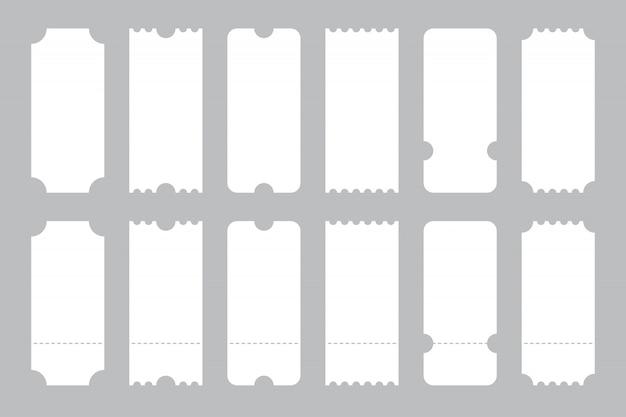 Conjunto de modelo de bilhetes de diferentes formas. Vetor Premium