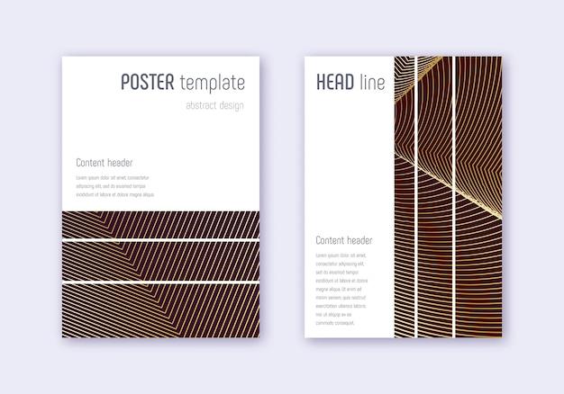 Conjunto de modelo de capa geométrica. linhas abstratas douradas sobre fundo marrom. belo design de capa. grande catálogo, pôster, modelo de livro etc. Vetor Premium