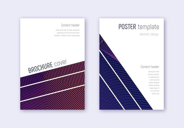 Conjunto de modelo de capa geométrica. linhas abstratas violetas em fundo escuro. design de capa cativante. catálogo animado, pôster, modelo de livro etc. Vetor Premium