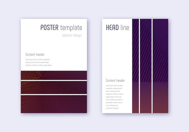 Conjunto de modelo de capa geométrica. linhas abstratas violetas em fundo escuro. design de capa em negrito. catálogo encantador, pôster, modelo de livro etc. Vetor Premium