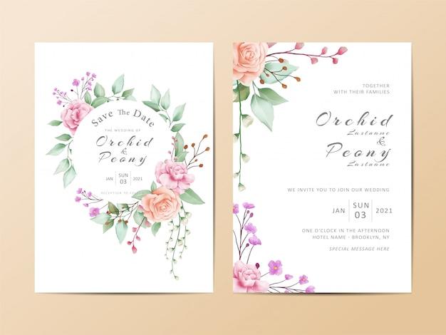 Conjunto de modelo de cartão de convite de casamento bonito de aquarela floral Vetor Premium