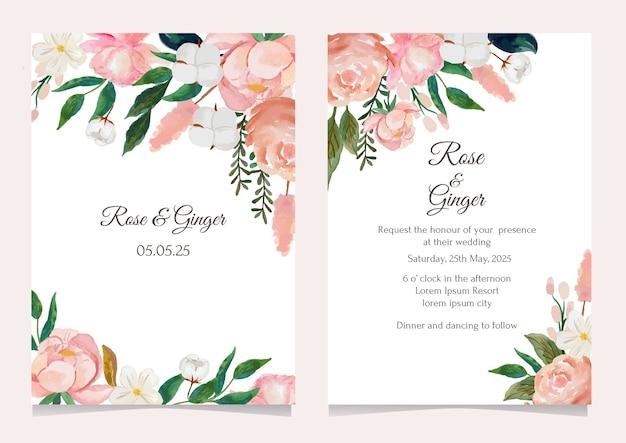Conjunto de modelo de cartão de convite de casamento de flores em aquarela Vetor Premium