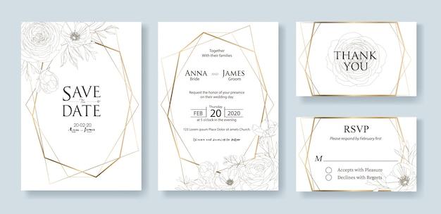 Conjunto de modelo de cartão de convite de casamento. flor rosa. Vetor Premium
