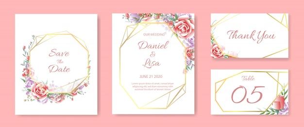 Conjunto de modelo de cartão de convite de casamento Vetor Premium