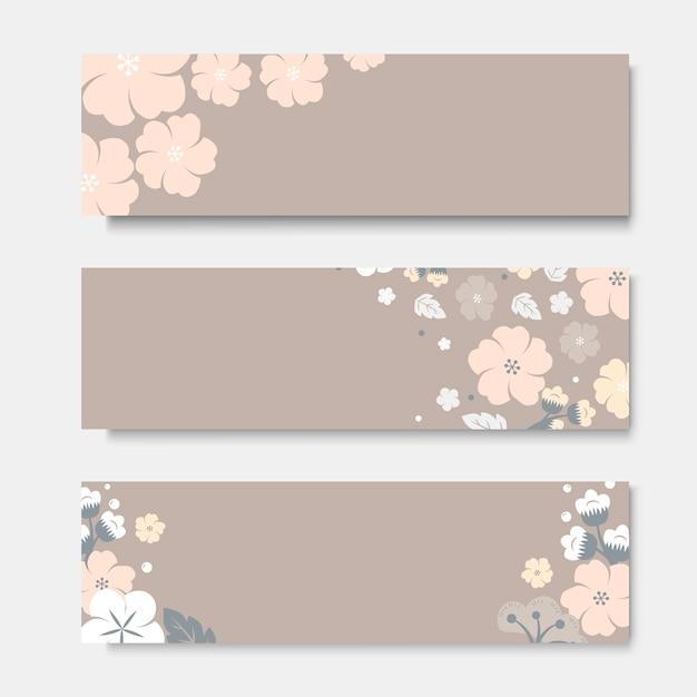 Conjunto de modelo de cartão de flor colorida Vetor grátis