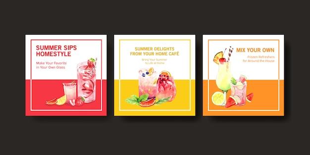 Conjunto de modelo de cartão de verão mão desenhada Vetor grátis