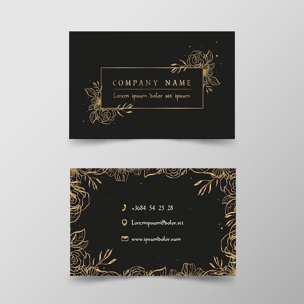 Conjunto de modelo de cartão floral dourado Vetor grátis