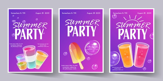 Conjunto de modelo de cartaz de festa de verão. panfleto de convite com tiros de cocktails. Vetor Premium