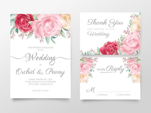 Conjunto de modelo de cartões de convite de casamento floral aquarela elegante Vetor Premium