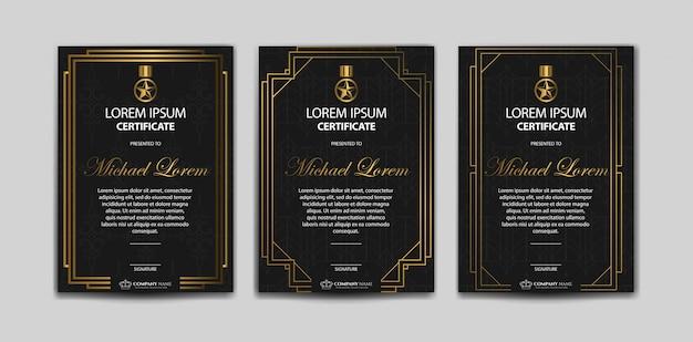 Conjunto de modelo de certificado de luxo Vetor Premium