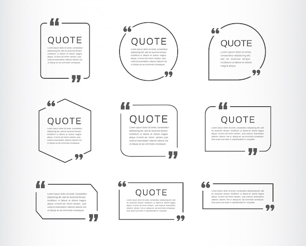 Conjunto de modelo de citação. citação caixa de discurso. Vetor Premium