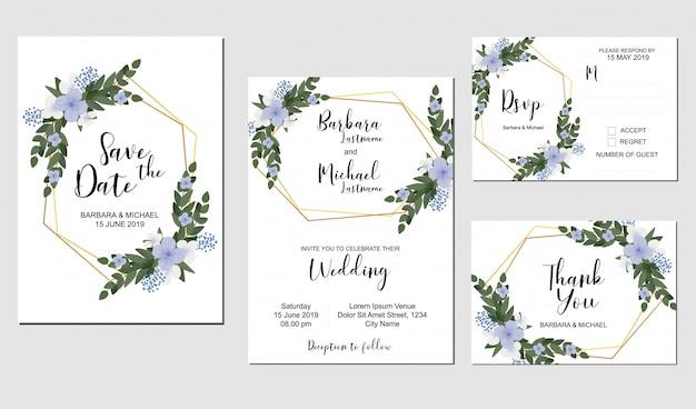 Conjunto de modelo de convite de casamento com decoração de buquê de flores roxas Vetor Premium