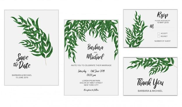Conjunto de modelo de convite de casamento com decoração de folha de eucalipto Vetor Premium