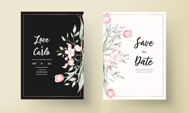 Conjunto de modelo de convite de casamento floral com decoração de flores e folhas em marrom e pêssego Vetor grátis