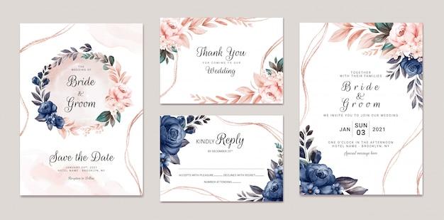 Conjunto de modelo de convite de casamento floral com decoração de folhas e rosas em aquarela da marinha e pêssego. conceito de design de cartão botânico Vetor Premium