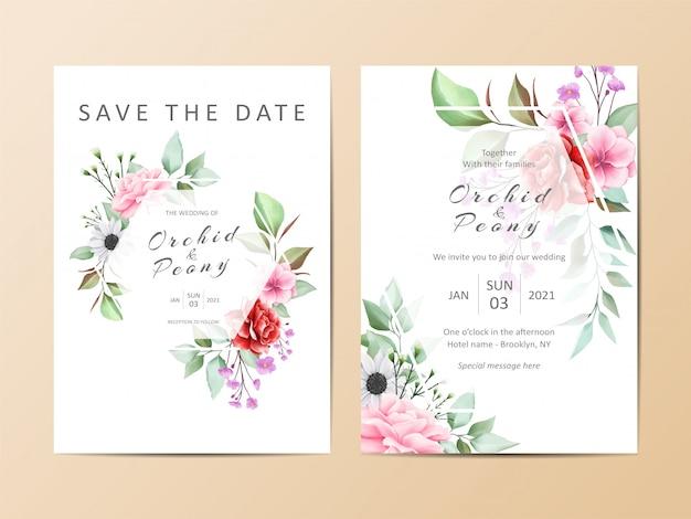 Conjunto de modelo de convite de casamento lindo de aquarela floral Vetor Premium