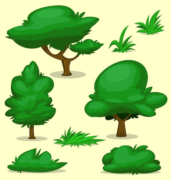 Conjunto de modelo de desenho de grama árvore arbusto isolado dos desenhos animados Vetor Premium