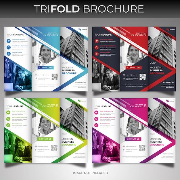 Conjunto de modelo de design de capa brochura com três dobras Vetor Premium