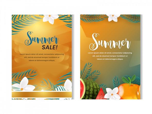 Conjunto de modelo de design de folheto de verão frutas com estilo realista 3d Vetor Premium