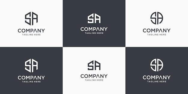 Conjunto de modelo de design de logotipo criativo abstrato monograma letra sa Vetor Premium