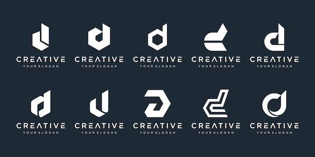 Conjunto de modelo de design de logotipo criativo letra d monograma. o logotipo pode ser usado para construir empresa. Vetor Premium