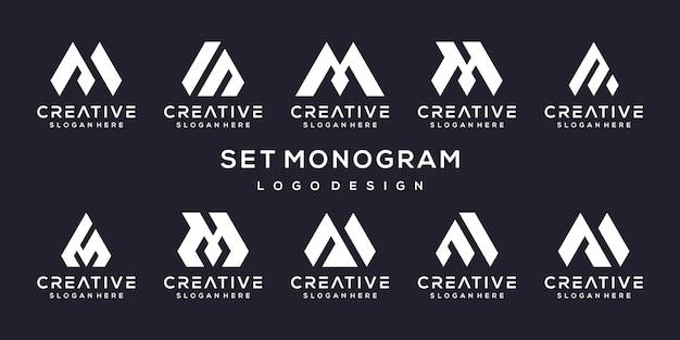 Conjunto de modelo de design de logotipo criativo letra m. Vetor Premium