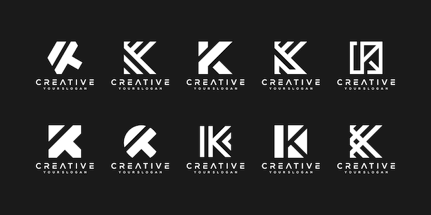 Conjunto de modelo de design de logotipo de letra k monograma criativo. o logotipo pode ser usado para empresa de construção. Vetor Premium