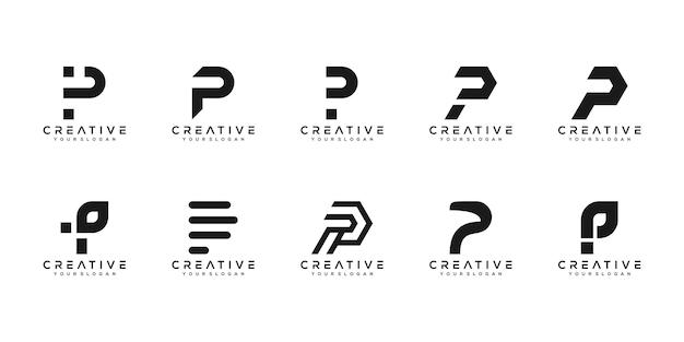 Conjunto de modelo de design de logotipo de letra p de monograma criativo. o logotipo pode ser usado para empresa de construção. Vetor Premium