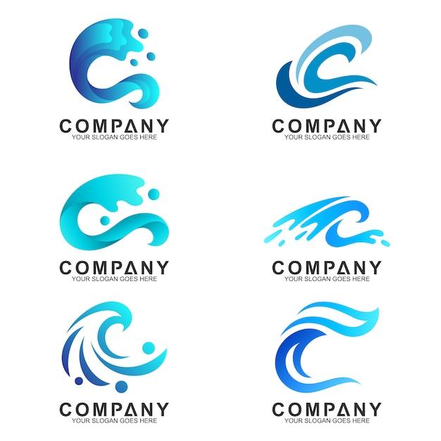 Conjunto de modelo de design de logotipo de onda Vetor Premium