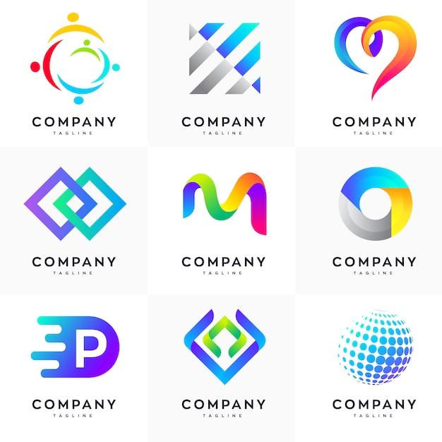 Conjunto de modelo de design de logotipo moderno, conjunto de logotipo abstrato, conjunto de logotipo colorido, conjunto de modelo de design de logotipo minimalista Vetor Premium