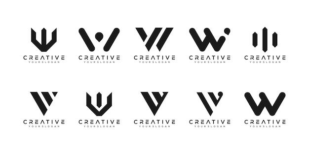 Conjunto de modelo de design de logotipo w de letra de monograma criativo. o logotipo pode ser usado para empresa de construção. Vetor Premium