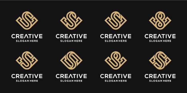 Conjunto de modelo de design de ouro combinação de letra se v de monograma criativo. Vetor Premium