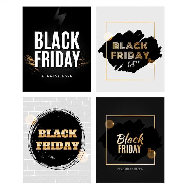 Conjunto de modelo de design de sexta-feira negra Vetor Premium
