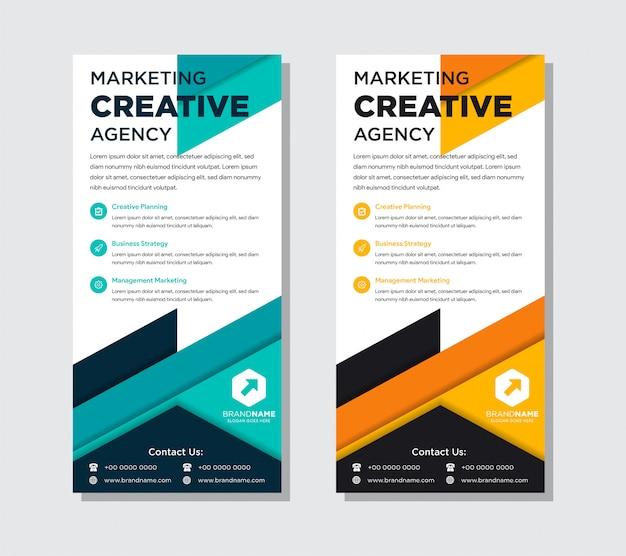 Conjunto de modelo de design plano de panfleto de negócios. abstratas cores azuis e laranja. Vetor Premium