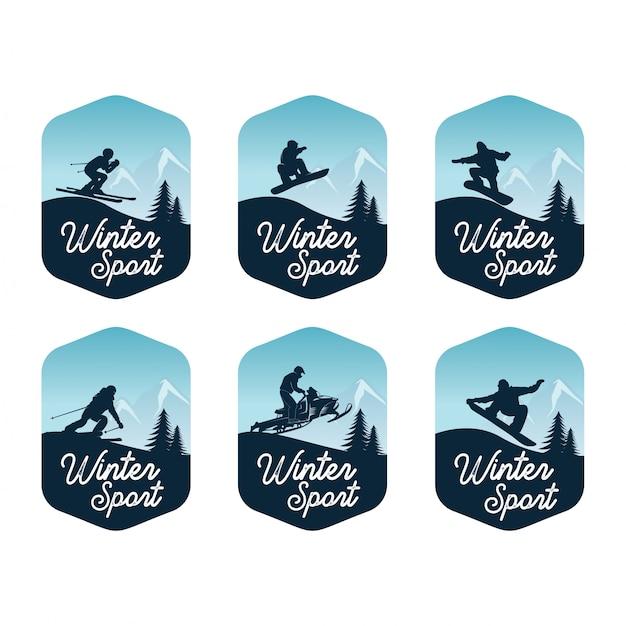 Conjunto de modelo de distintivo de esporte de inverno Vetor Premium