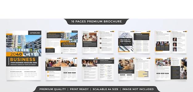 Conjunto de modelo de folheto de negócios bifold estilo limpo Vetor Premium