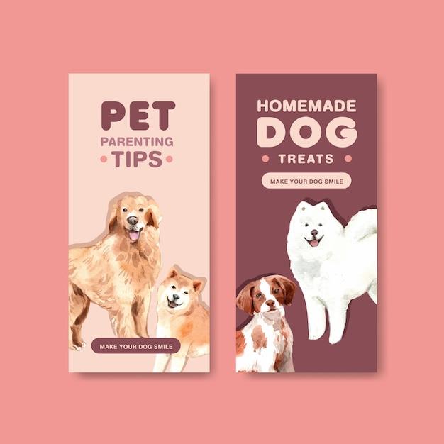 Conjunto de modelo de folheto de propaganda de cachorro em aquarela Vetor grátis