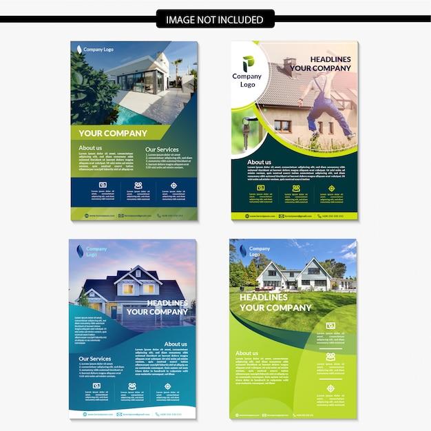 Conjunto de modelo de folheto imobiliário moderno Vetor Premium