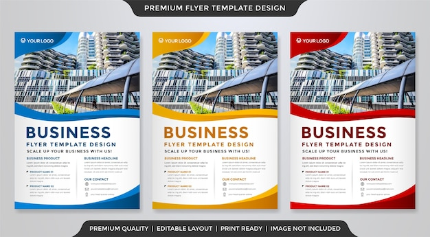 Conjunto de modelo de folheto minimalista Vetor Premium