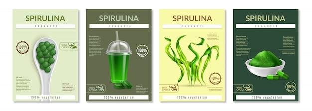 Conjunto de modelo de folheto realista spirulina Vetor grátis